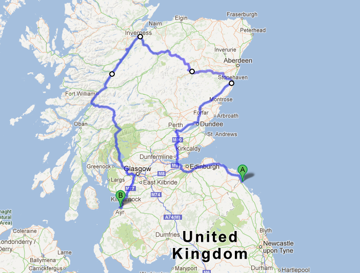 Scotland Route 2010 | Habitual Runaway Tours