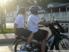 Young Students Motorbiking