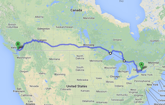 How Long From Toronto To Vancouver By Car