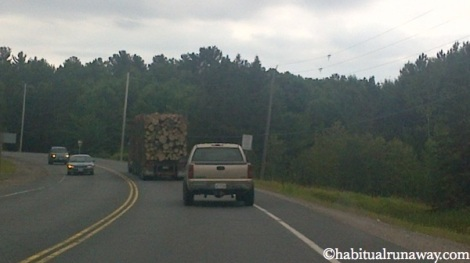 Speeding Logging Truck