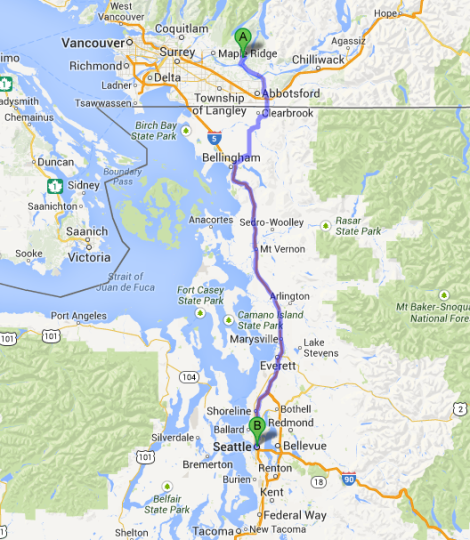 Mission BC to Seattle
