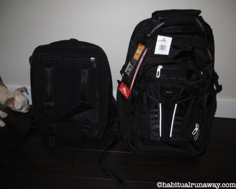 My new backpack (with wheels!), beside my old backpack. A serious upgrade!